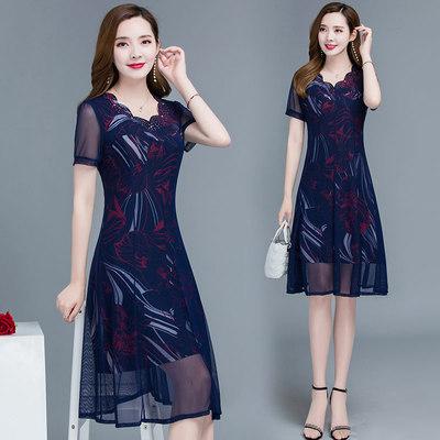 中年妈妈连衣裙2020新款35-45女装夏高端洋气遮肚子显瘦网纱裙子