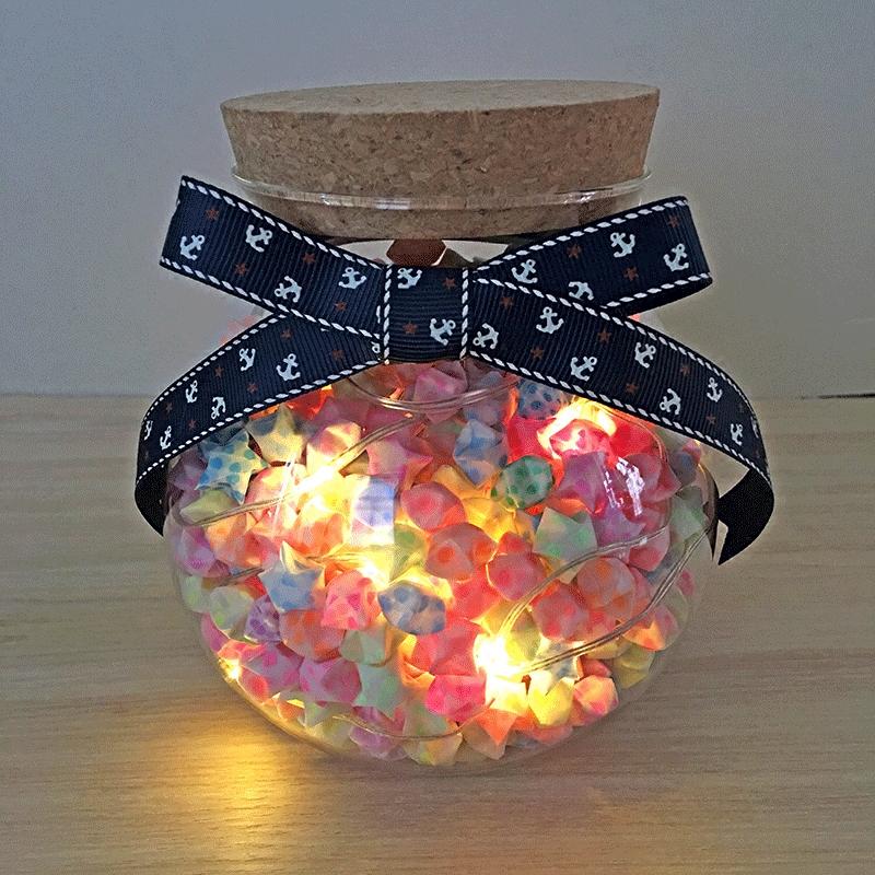 夜光幸运星木塞玻璃瓶纸星星大号许愿瓶创意爱情礼物装星星的瓶子