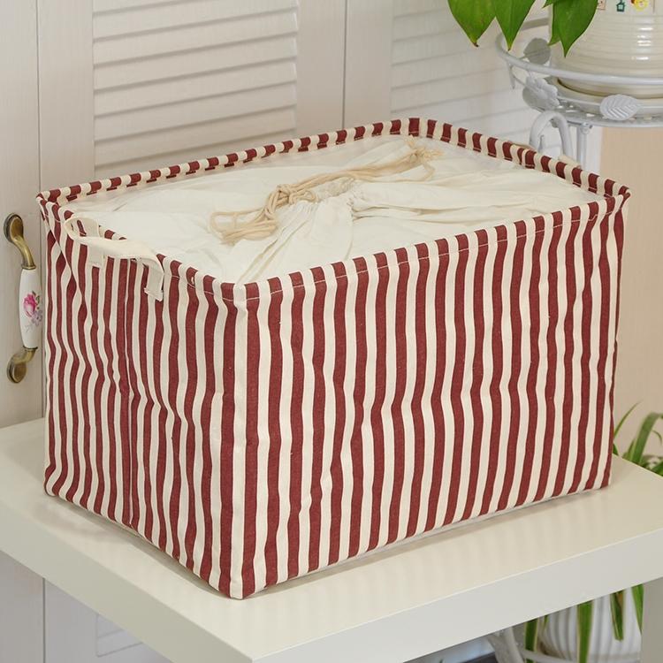 棉麻防潮整理箱折叠储物箱条纹收纳篮防灰尘家庭收纳盒布艺收纳筐