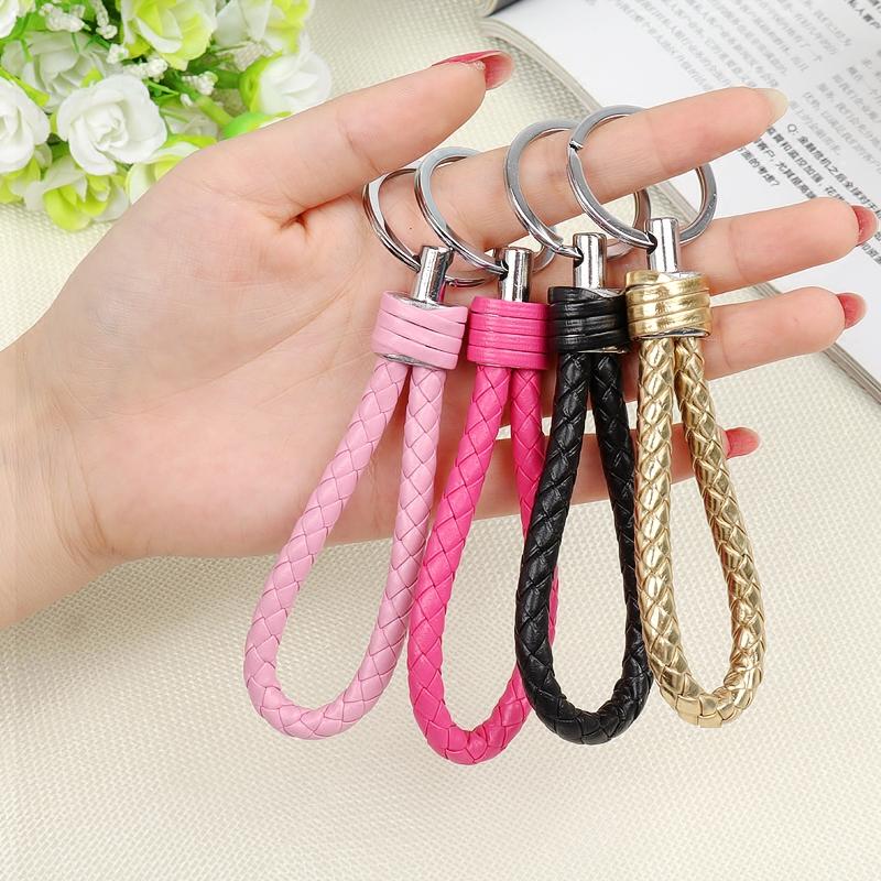 个性编织皮绳汽车钥匙扣钥匙圈环男女士腰挂件钥匙链创意高档礼物