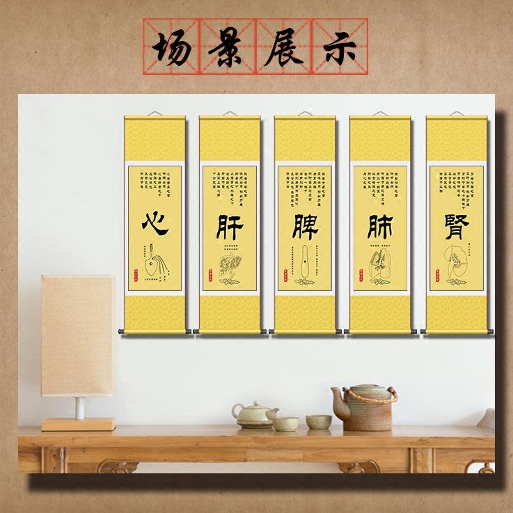 中醫五臟養生卷軸掛圖心肝脾肺腎文化掛畫養生會所醫院醫館裝飾圖