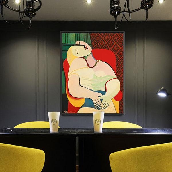 毕加索画挂画抽象装饰画现代客厅商业板房餐厅北欧艺术画油画-梦