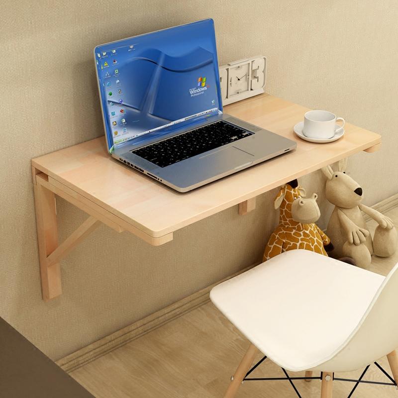 經濟型實木壁掛桌摺疊桌餐桌靠牆電腦桌書桌牆壁桌學習桌可摺疊
