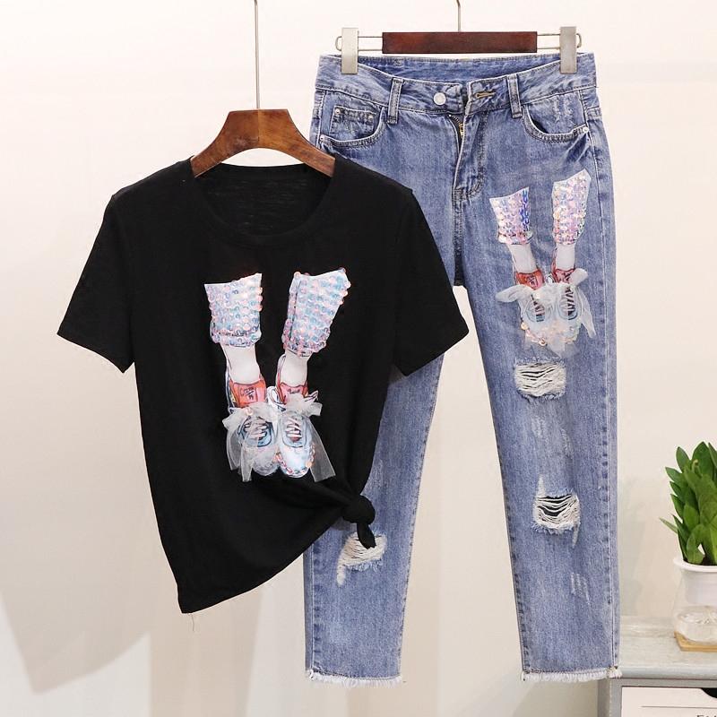欧洲站夏装女2019新款亮片网纱小鞋短袖T恤+破洞七分牛仔裤套装女