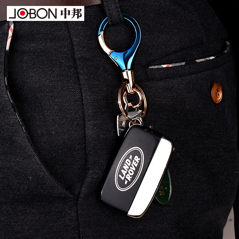 jobon中邦汽车挂件钥匙扣男女腰挂创意礼品情侣钥匙链双环