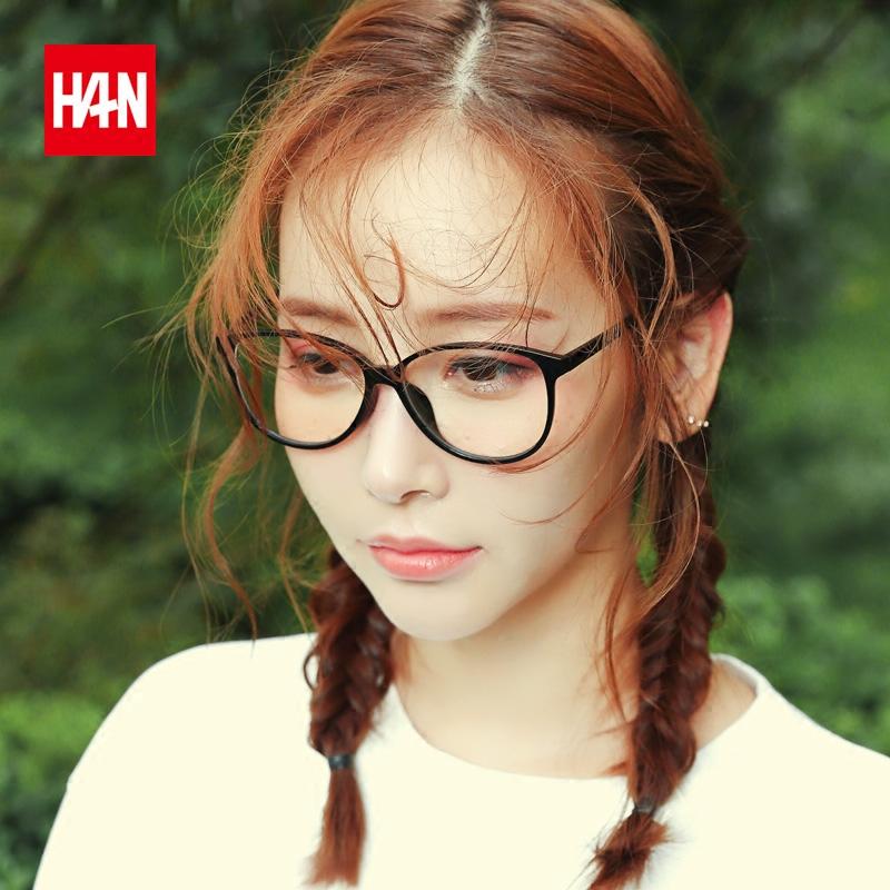 汉HAN防蓝光防辐射电脑眼镜配近视女眼睛平光眼镜框男复古潮超轻
