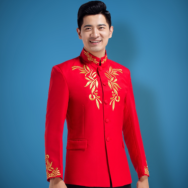 Buy The new red collar chinese tunic embroidered arena singer men ...