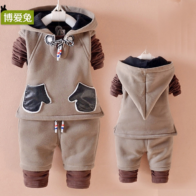 0f79b8b25a5b9 Buy 2 children wear baby 0-1-3-year-old methodist children's clothing  boys fall and winter clothes plus thick velvet suit three sets long sleeve  tide in ...