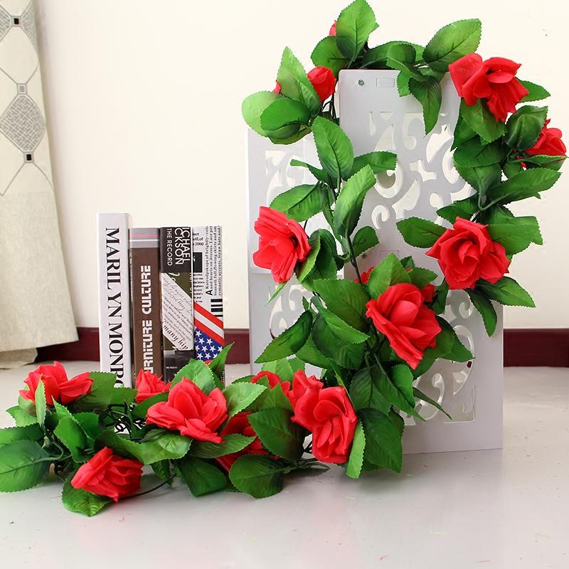 仿真玫瑰花藤假花藤条客厅空调管道室内暖气装饰遮挡塑料藤蔓植物