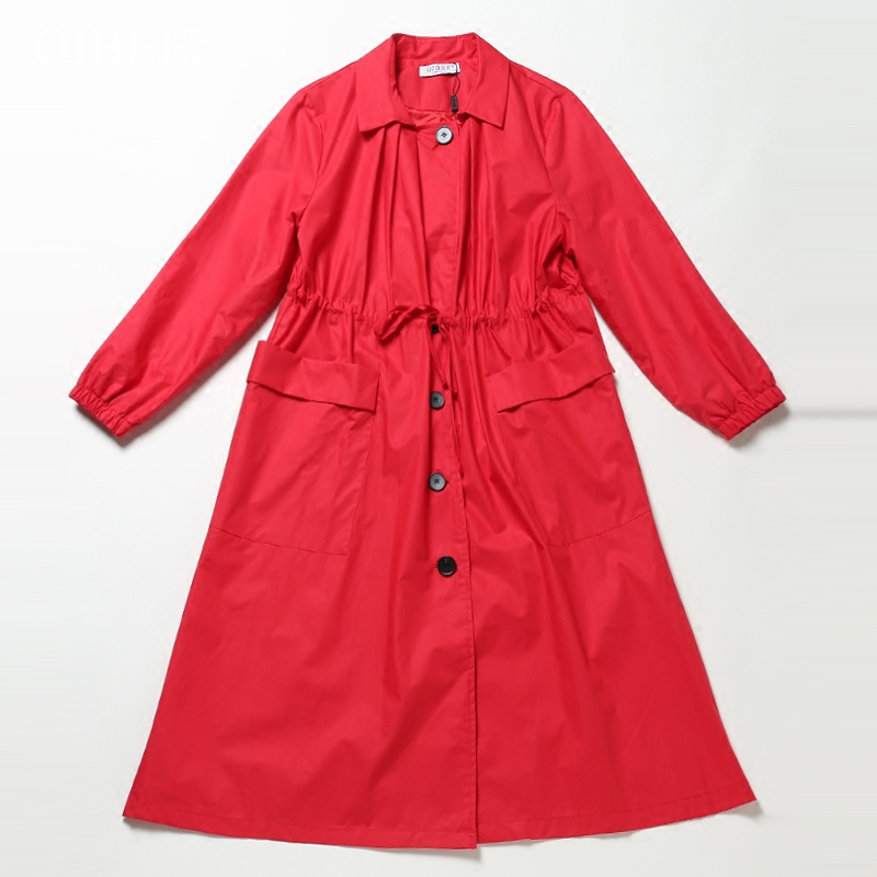 欧洲站2019春秋装新款女装宽松显瘦中长款红色收腰风衣休闲薄外套