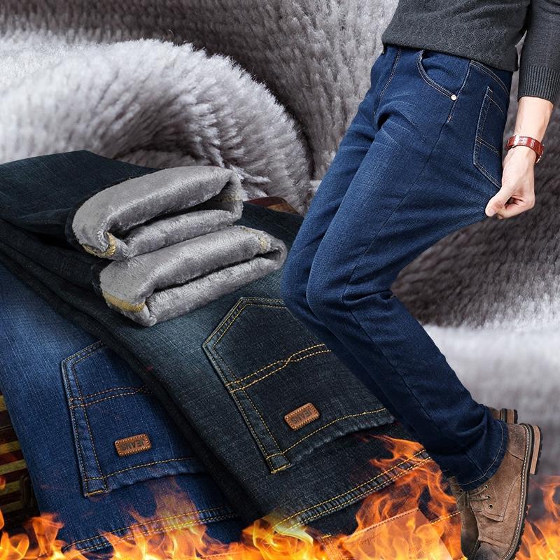 加絨加厚牛仔褲男寬松直筒冬季褲子男士保暖彈力長褲子大碼秋冬款