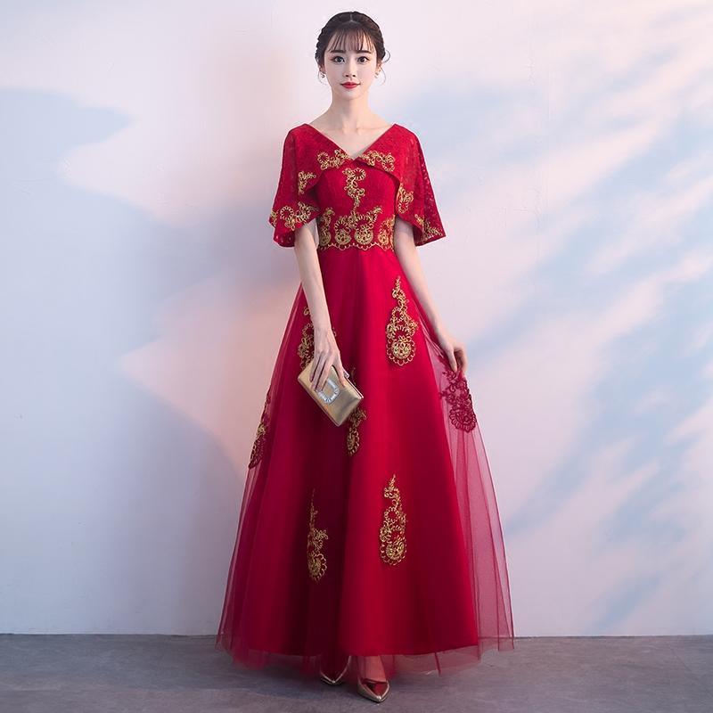 敬酒服新娘春夏季2018结婚新款红色蕾丝长款回门服显瘦礼服连衣裙