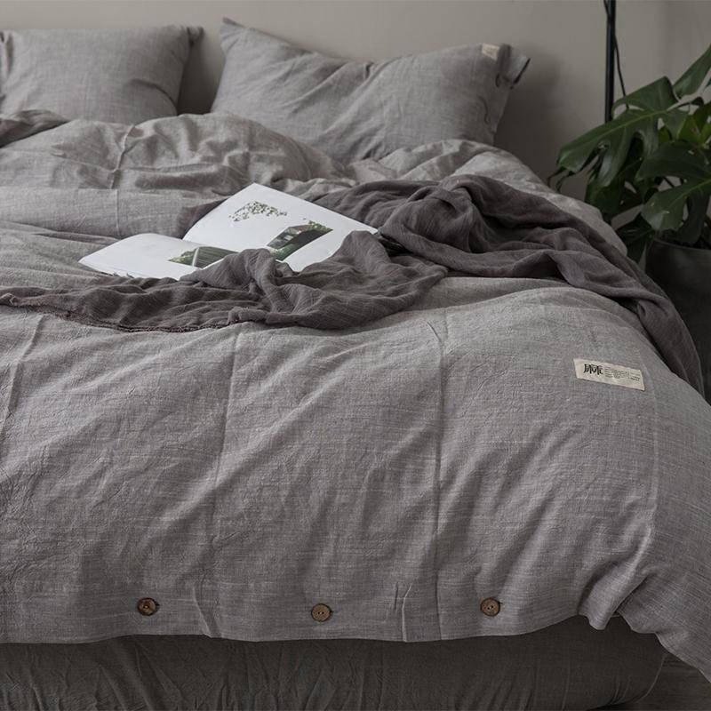 純色素色水洗棉麻四件套北歐簡約全棉亞麻床單被套床笠款床上用品