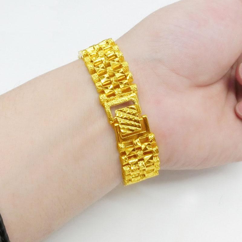 新款欧钱金饰品霸气男士手链宽镀黄金手表链久不褪色沙金首饰礼物