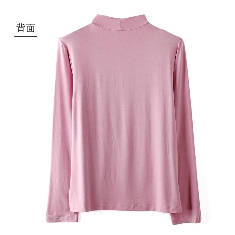 莫代尔半高领长袖打底衫大码宽松弹力T恤柔软韩版春装新款女装