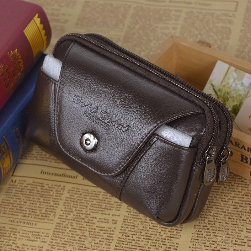 男士真皮腰包5.5寸6寸手機包穿皮帶手機腰包頭層牛皮橫款多功能大