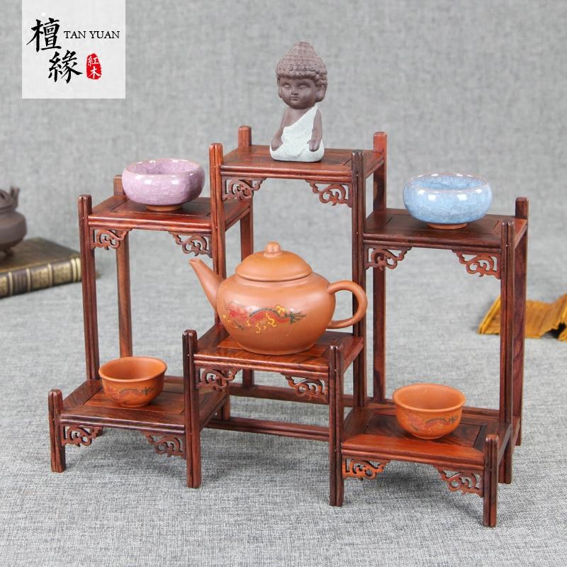 红木小博古架实木简约中式茶壶架红酸枝多宝阁茶架子置物架茶叶架