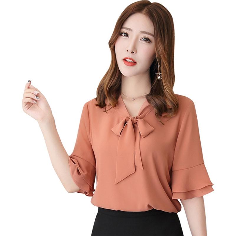 雪纺衫短袖2019夏装新款韩版宽松喇叭袖女装超很仙的气质洋气上衣