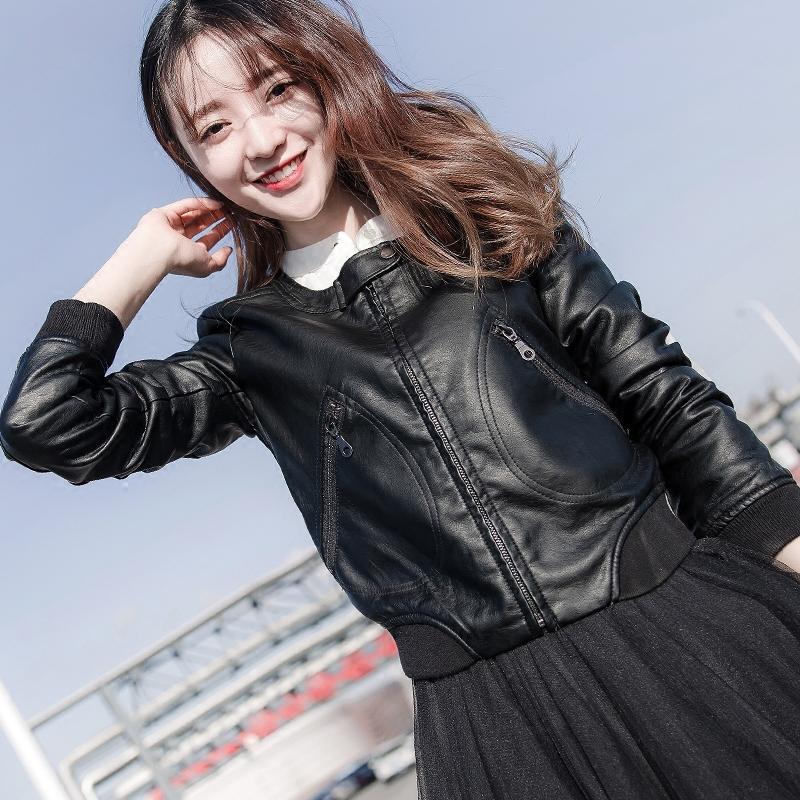 皮衣女短款韩版修身显瘦百搭时尚皮夹克机车小外套 新款春秋 2018 PU