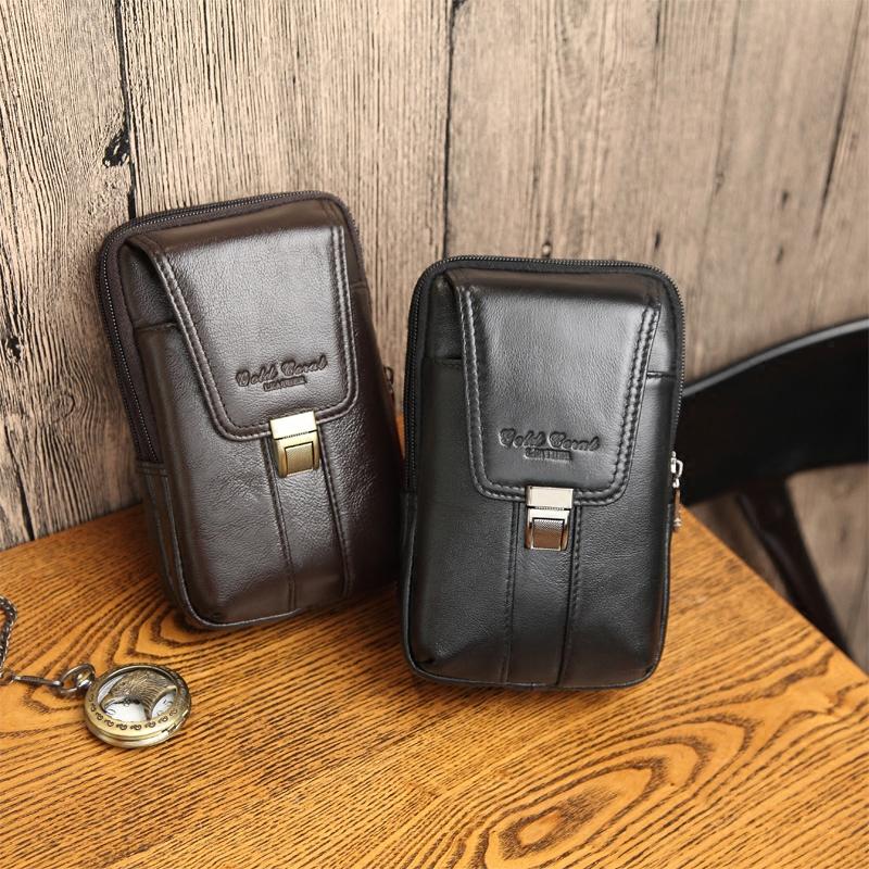 穿皮带手机腰包真皮 男 5.5寸6寸手机苹果6手机多功能牛皮腰包