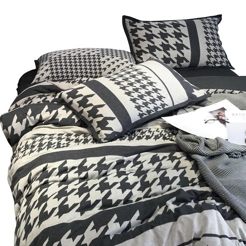 北欧亲肤全棉针织棉千鸟格四件套天竺棉裸睡双人床上用品4件套