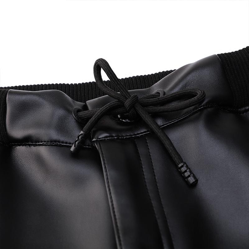 牧撒男皮裤加绒男士直筒休闲裤松紧带开襟拉链高腰商务PU皮裤冬厚