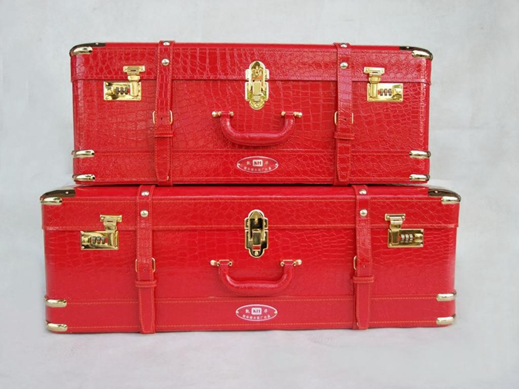 结婚箱子新娘陪嫁箱 结婚红色箱子嫁妆箱子母箱婚庆皮箱行李箱