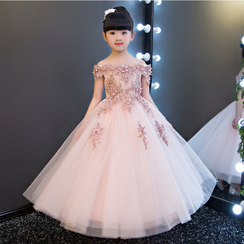 儿童礼服公主裙女花童婚纱礼服蓬蓬裙演出服钢琴主持走秀礼服粉色