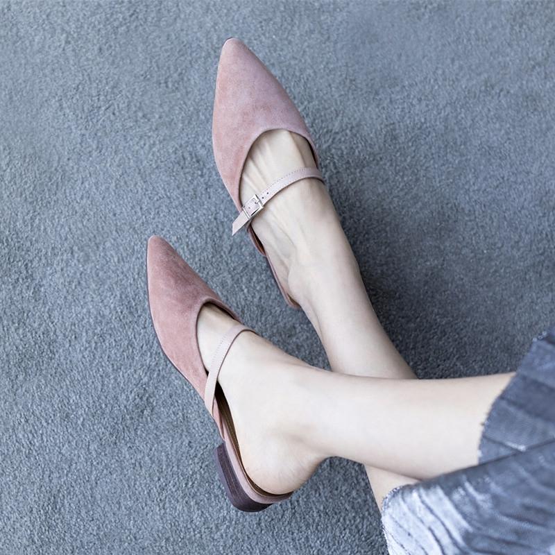 鹿与奈良凉鞋女平底真皮尖头时尚韩版显瘦淑女外穿一脚蹬凉拖鞋