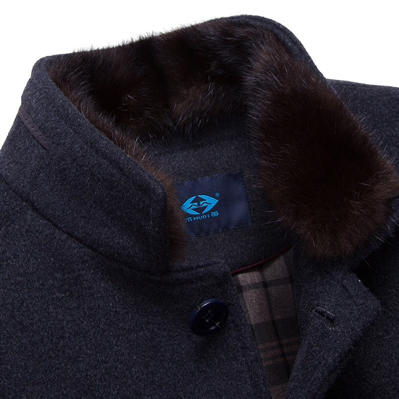 木笛冬季中长款羊毛呢子大衣男 中年男士大码加厚羽绒服毛呢外套