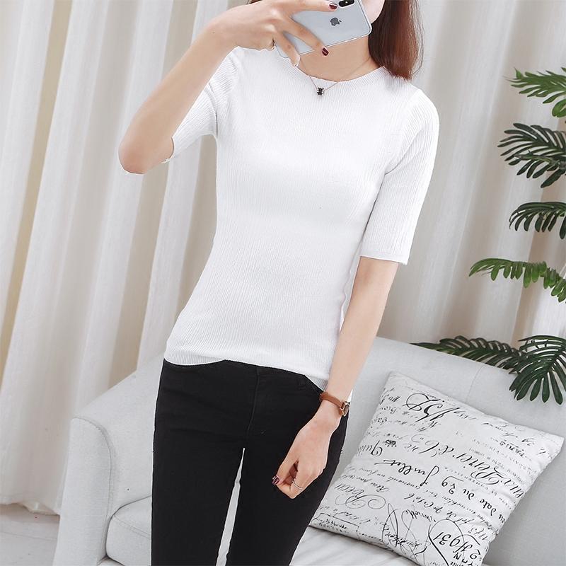 春夏2018新款针织短袖女一字领打底衫薄韩版修身显瘦短款百搭T恤