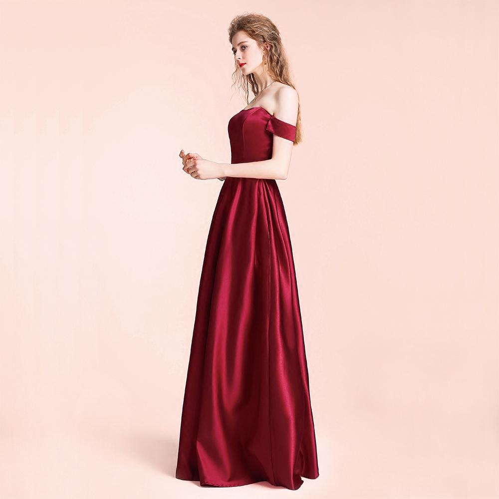 包邮一字肩婚礼新娘敬酒服抹胸复古长裙酒红色年会主持伴娘姐妹团