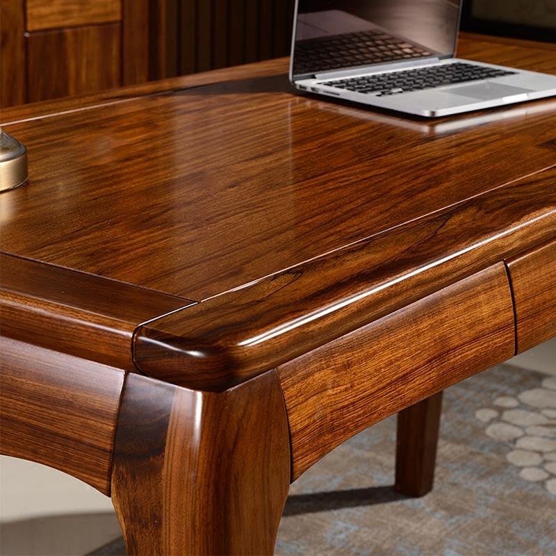 1042 简约现代实木书桌非洲乌金木书法桌中式书画桌书房电脑桌书台
