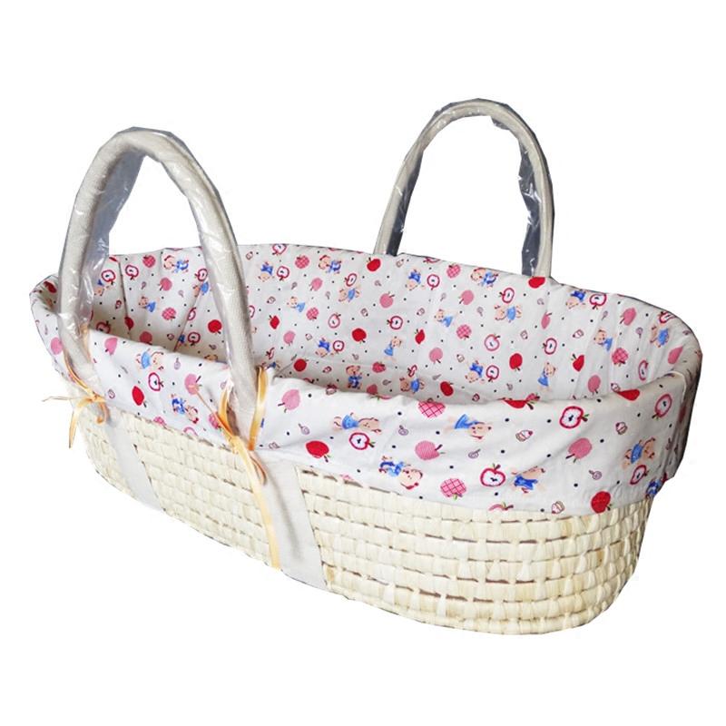 新生婴儿提篮婴儿外出手提篮子车载便携式睡蓝草编筐子宝宝摇篮床