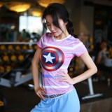 Superman, Captain America female fitness clothing tight-fitting short-sleeved sport running breathable wicking short-sleeve T-shirt high-elastic outer wear
