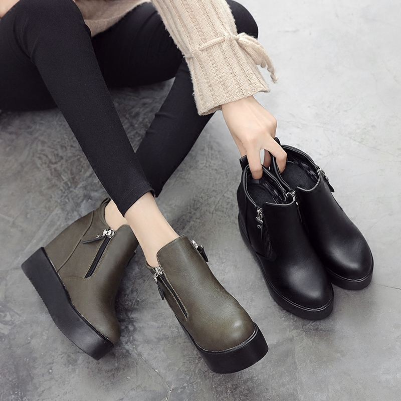 2019短靴女秋冬季新款坡跟厚底内增高马丁靴高跟靴子加绒百搭女鞋