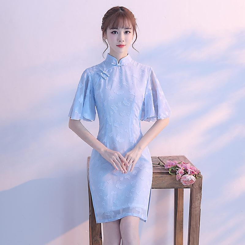 改良版旗袍女夏短款2018新款连衣裙清新淡雅日常低领旗袍裙少女
