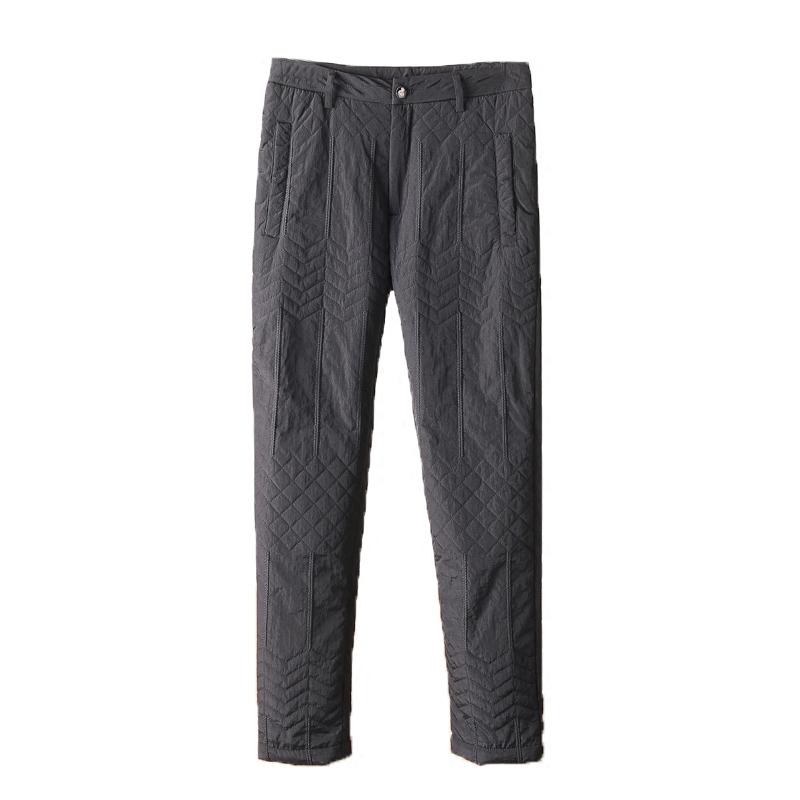 御寒牛货冬季棉裤时尚几何波浪菱形加厚保暖男士修身直筒休闲棉裤