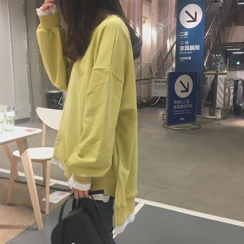 卫衣女薄款假两件上衣圆领2018新款潮韩版学生宽松bf慵懒风长袖春