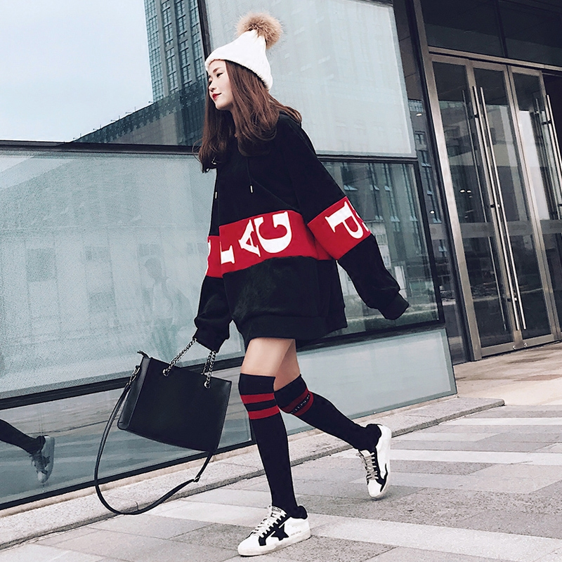 秋冬女装韩版字母bf风中长款金丝绒卫衣裙加绒加厚保暖连帽卫衣潮