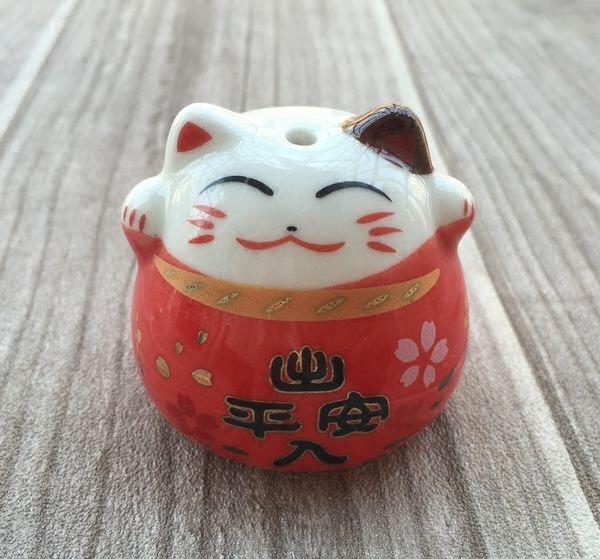 4色中国结汽车挂件专用大号陶瓷 出入平安 招财猫 可爱挂坠配件