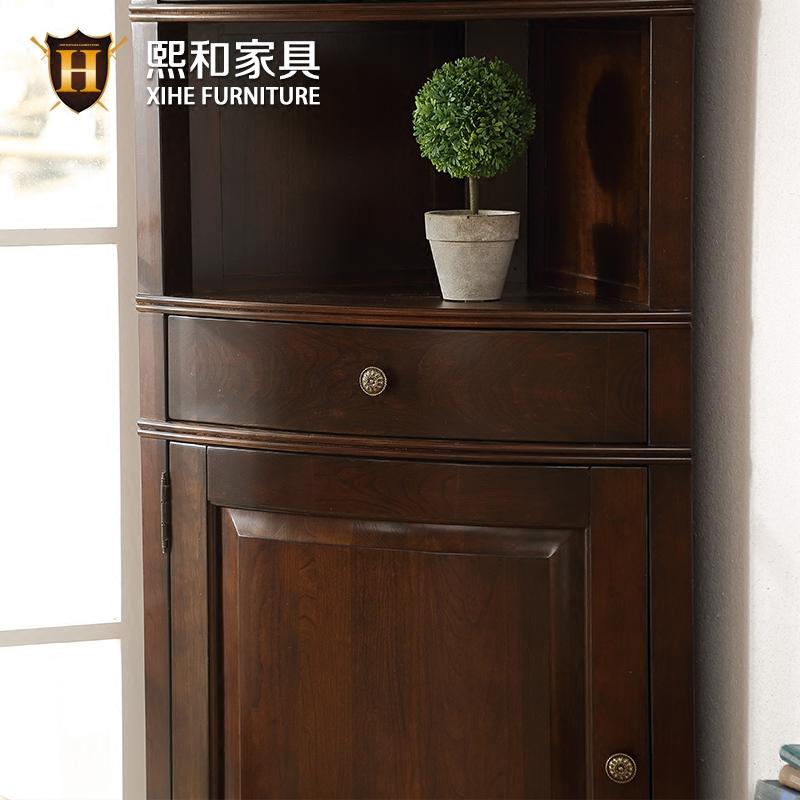 美式实木转角柜客厅三角柜酒柜储物柜墙角柜边柜樱桃木水性漆熙和