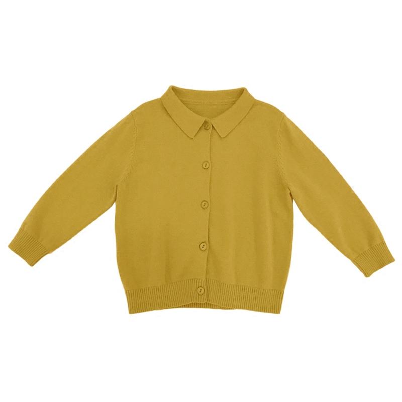 奶油cream 2018春季新款女童全棉纱翻领针织衫 宝宝开衫毛衣外套