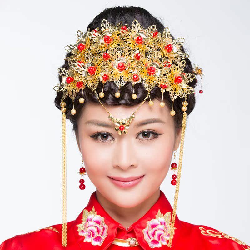 中式花朵古典古装造型 新娘头饰 婚礼结婚配饰 古装头饰凤冠