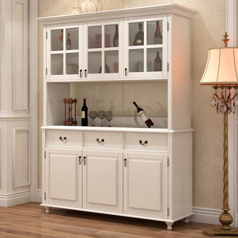 美式全实木餐边柜白色酒柜储物高柜碗柜欧式简约玄关餐柜厨房客厅