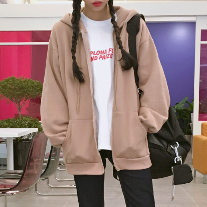 2019秋冬季新款粉红色加绒卫衣女宽松拉链外套bf韩版学生连帽开衫