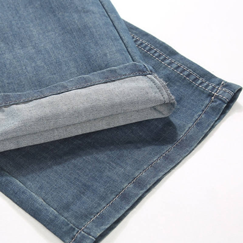 夏季薄款大腿粗裤脚宽休闲长裤子男士直筒牛仔裤宽松加大码阔腿潮