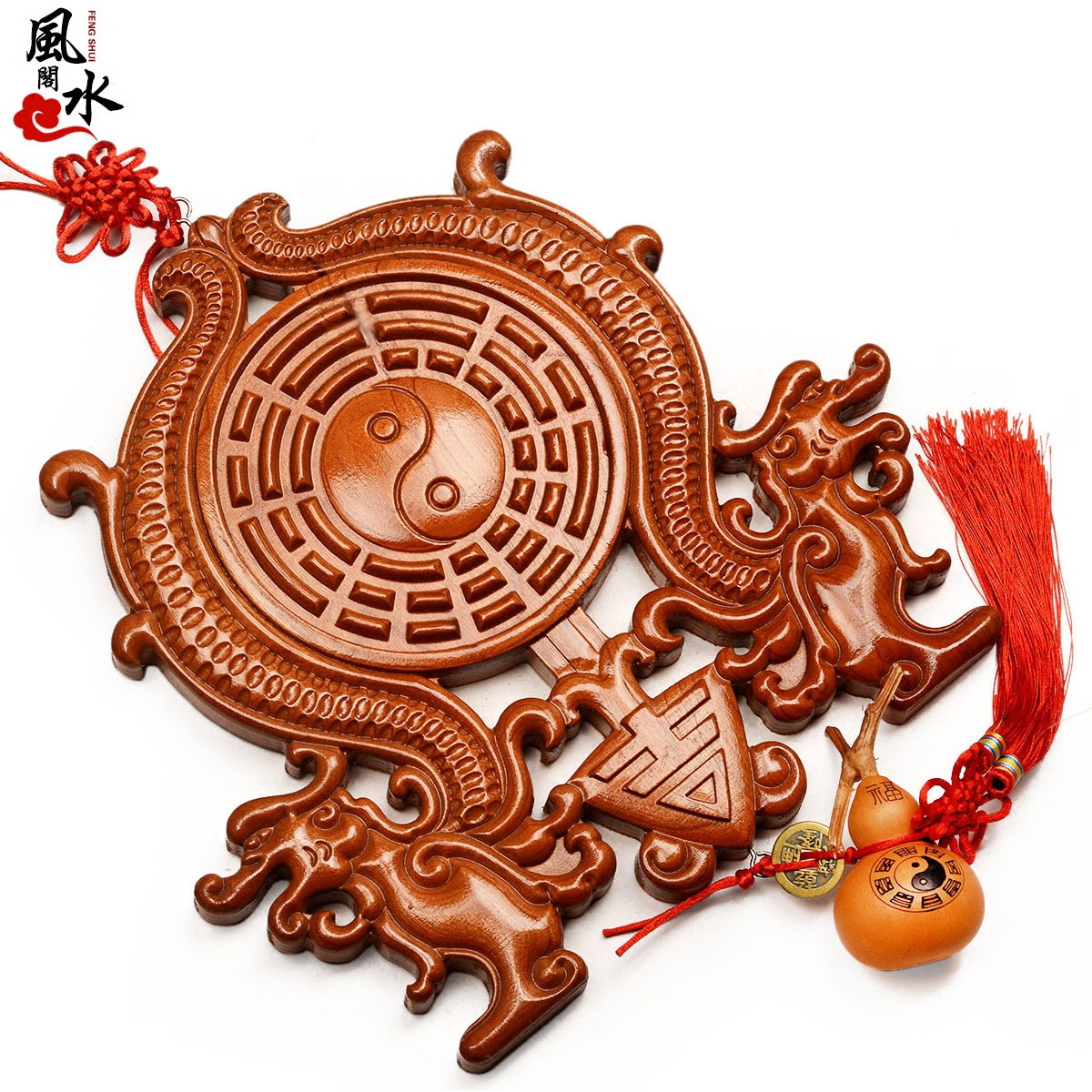 Feng Shui House Mahogany Wood Carving Ssangyong Gossip Mirror Pendant Ornaments Resolve Day Cut Corners Evil Five Emperors Money Copper Bells