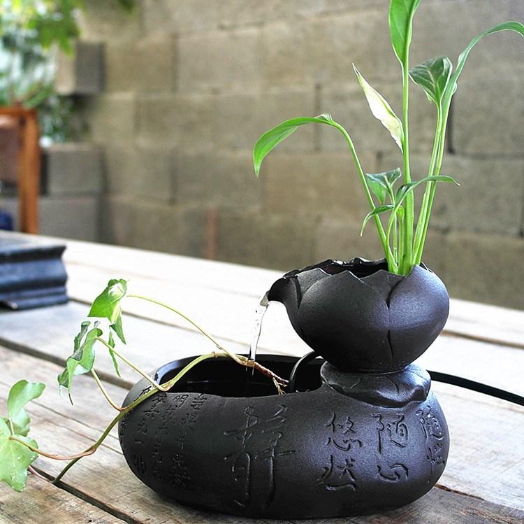 迷你型桌面流水器摆件水培植物陶瓷小花盆办公绿色水养盆小摆件