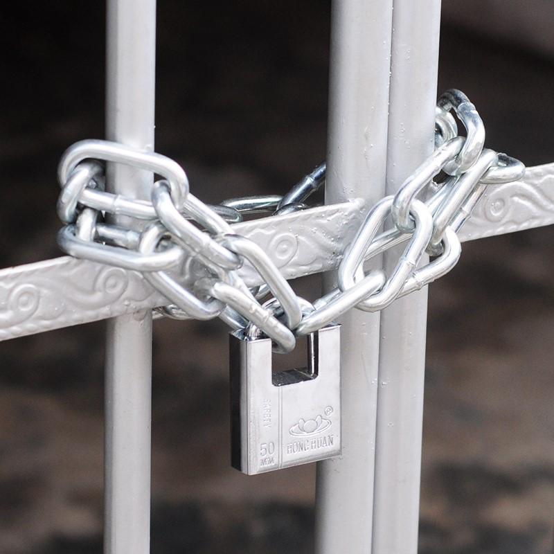 电瓶车锁扣子防锈双门锁锁门链条锁 mm8mm 铁门铁链子 1.5 防盗 5m